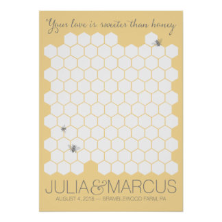 Sweet Honey Bee Guestbook - CHOOSE YOUR COLOR Poster