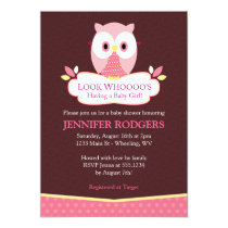 Sweet Hoot Owl Baby Shower Invitations - Pink
