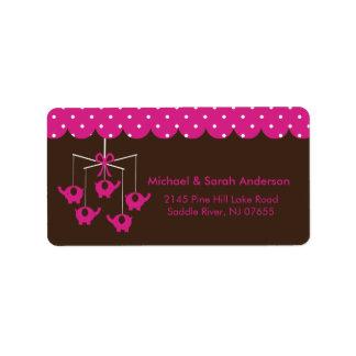 Sweet Hot Pink Elephant Mobile Address Label