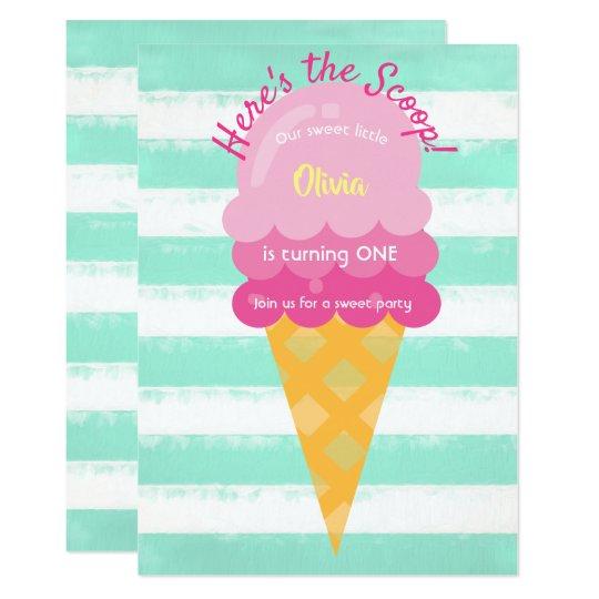 Sweet Ice Cream 1st Birthday Party Pink Mint Invitation