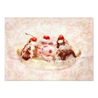 "Sweet - Ice Cream - Banana split 5"" X 7"" Invitation Card"