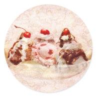 Sweet - Ice Cream - Banana split Round Stickers