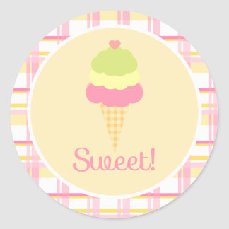 Sweet Ice Cream Birthday Cupcake Toppers/Stickers Classic Round Sticker