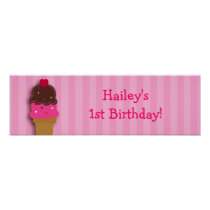 Sweet Ice Cream Shop Birthday Banner Sign Poster