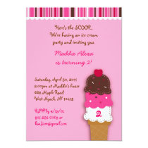 Sweet Ice Cream Shop Birthday Invitations