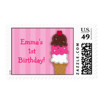 Sweet Ice Cream Shop Birthday Postage Stamps