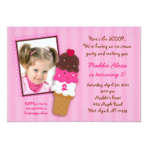 Sweet Ice Cream Shop Photo Birthday Invitations