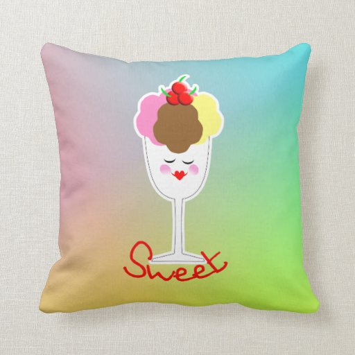 Sweet Ice Cream Sundae Throw Pillow Zazzle