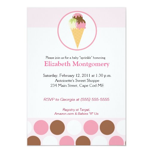 Sweet Ice Cream Treat Baby Shower Sprinkle 5x7 Card