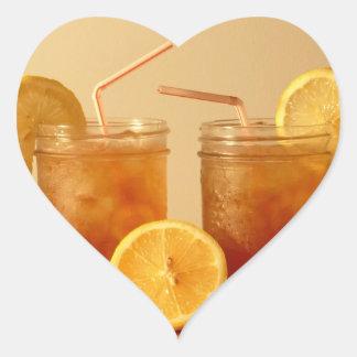 Sweet Iced Tea in Mason Jars with Straws Heart Sticker