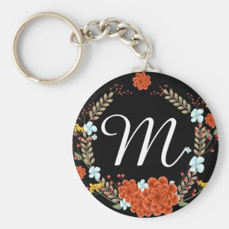 Sweet Illustrated Flower & Laurel Wreath Monogram Basic Round Button Keychain