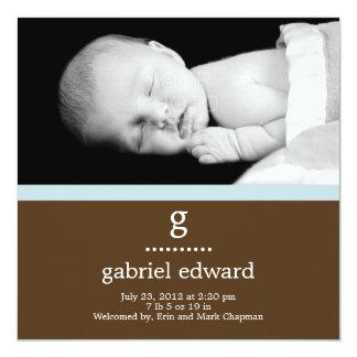Sweet Initial Baby Boy Birth Announcement Custom Invitations
