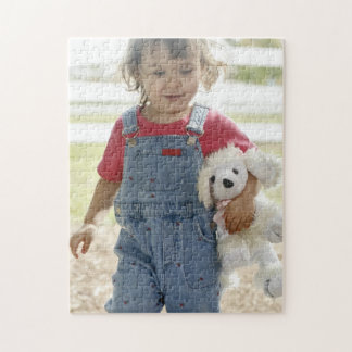 Sweet Innocent Toddler Girl w/ Stuffed Toy Puzzle