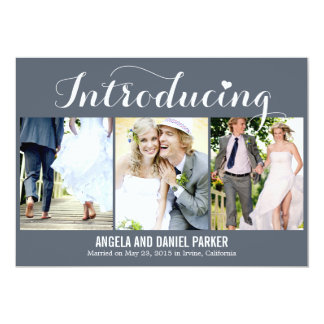 "Sweet Introduction Wedding Announcement - Gray 5"" X 7"" Invitation Card"