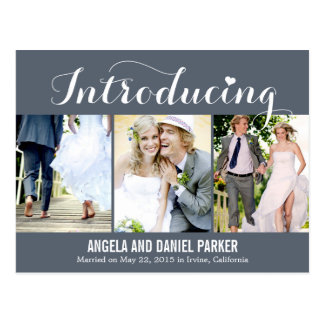 Sweet Introduction Wedding Announcement - Gray Postcard