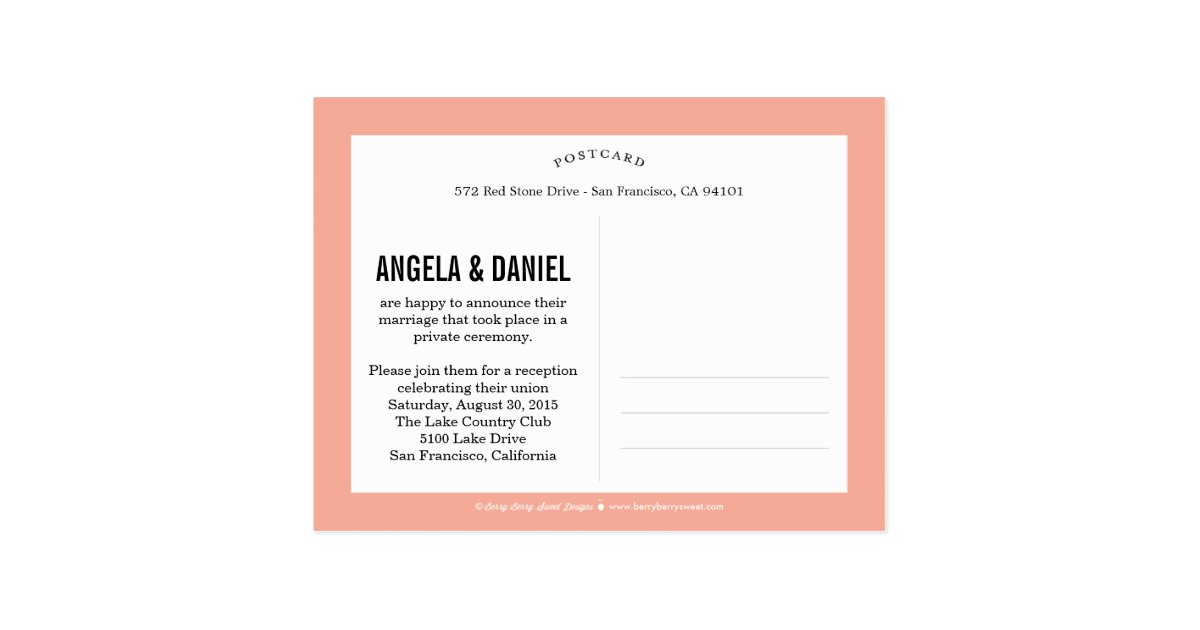 Sweet Introduction Wedding Announcement - Peach Postcard Zazzle