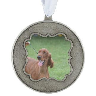 Sweet Irish Setter Dog Scalloped Ornament