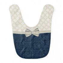 Sweet Ivory and Blue Patterns Baby Bib