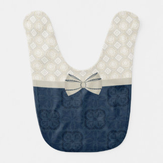 Sweet Ivory and Blue Patterns Baby Bib