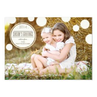 "Sweet Ivory Dots Season's Greetings Photo Card 5"" X 7"" Invitation Card"