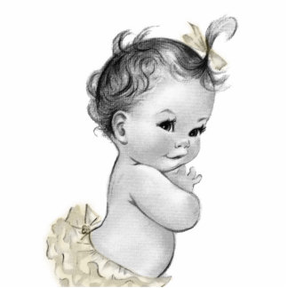 Sweet Ivory Vintage Baby Girl Shower Cutout