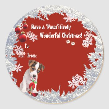 Sweet Jack Russell Christmas Gift Tag Stickers by 4westies at Zazzle