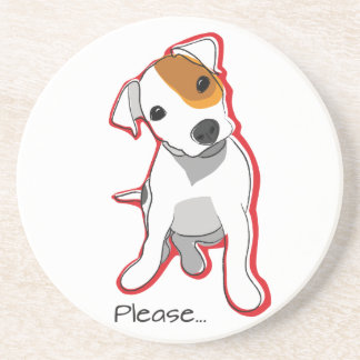 """Sweet Jack Russell Puppy """"Please"""" Coster Coaster"""