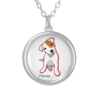 """Sweet Jack Russell Puppy """"Please"""" Necklace"""