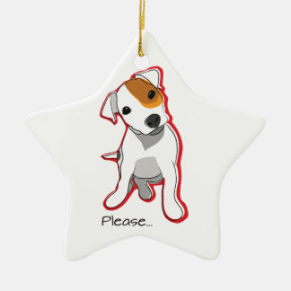 """Sweet Jack Russell Puppy """"Please"""" Ornament"""