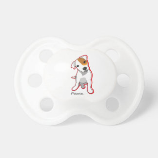 """Sweet Jack Russell Puppy """"Please"""" Pacifier BooginHead Pacifier"""