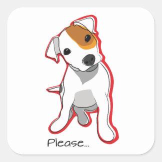 """Sweet Jack Russell Puppy """"Please"""" Sticker"""