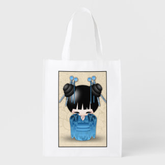 Sweet Japanese Kokeshi Doll Dressed In Fancy Blue Reusable Grocery Bag