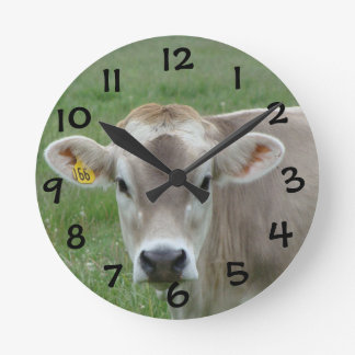 Sweet Jersey Cow Round Clock