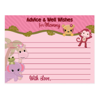 Sweet Jungle Babies Advice for Mommy Cards PINK