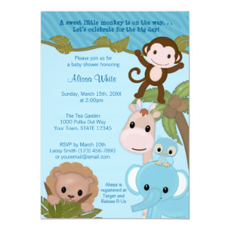 "Sweet Jungle Babies Baby Shower Invitation blue 5"" X 7"" Invitation Card"