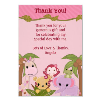 Sweet Jungle Babies PINK Shower Thank You FLAT Personalized Announcements