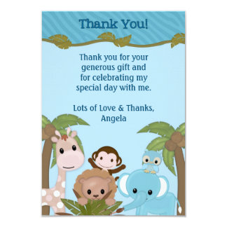 Sweet Jungle Babies Shower Thank You (FLAT style) Card