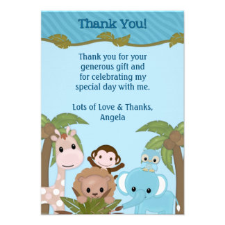 Sweet Jungle Babies Shower Thank You FLAT style Personalized Invitation