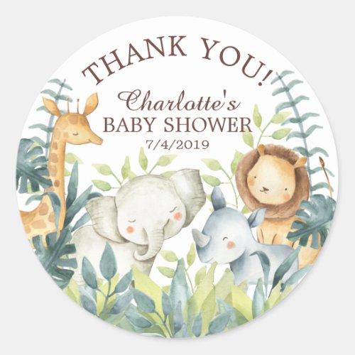 Sweet Jungle Baby Shower Thank You Favor Sticker