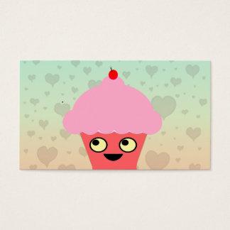 Sweet Kawaii Cupcake on a Hearts Background Business Card