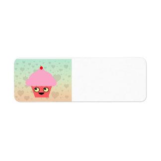 Sweet Kawaii Cupcake on a Hearts Background Return Address Label