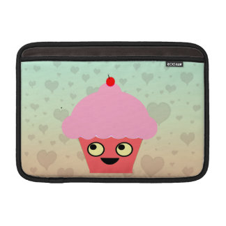 Sweet Kawaii Cupcake on a Hearts Background MacBook Air Sleeve
