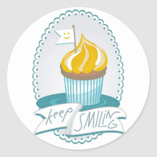 sweet 'keep smiling' design with a cupcake classic round sticker