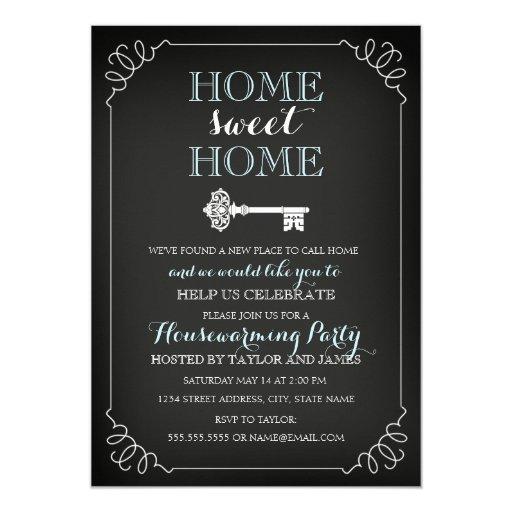 Sweet key chalkboard housewarming invitation zazzle - House warming blessing ...