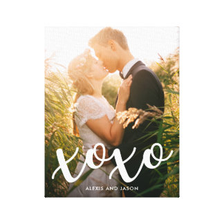 Sweet Kisses | xoxo in White with your Photo Canvas Print