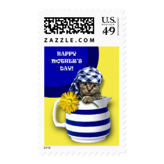 Sweet Kitten. Fun Mother's Day Postage Stamps