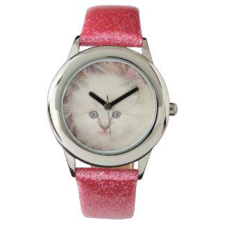 Sweet Kitten Girly Blue Eyes Photo Design Wristwatch