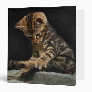 Sweet kitten playing with tail 3 ring binder