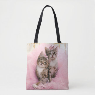 Sweet Kittens in Tiaras and Pink Sparkly Tutu Tote Bag