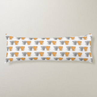 Sweet Kittens Pattern Orange and Grey Kitties Body Pillow